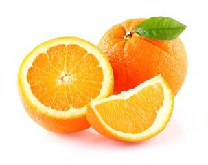 Orange fruit with leaf