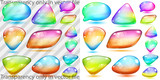 Transparent and opaque multicolored glass shapes poster