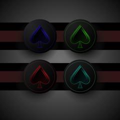 multicolored rustrakehner color spades on a black screen