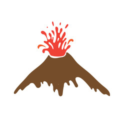 eruption of a volcano, vector logo