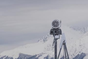 Snow cannon in the mountain ski resort