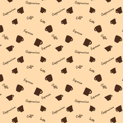 Coffee xups and names Seamless background pattern