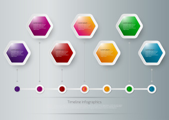 Vector illustration of a timeline infographics hexagons