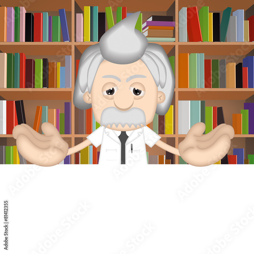 poster of Albert Einstein Funny Cartoon Comic Illustration Professor