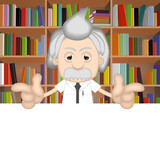 Albert Einstein Funny Cartoon Comic Illustration Professor poster