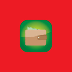 wallet button icon flat  vector illustration eps10