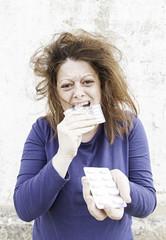 Girl eating pills