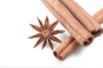 cinnamon stick and star anise spice on the white
