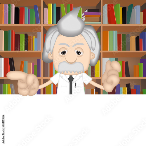 poster of Albert Einstein Funny Cartoon Comic Illustration Professor