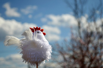 White rooster toy