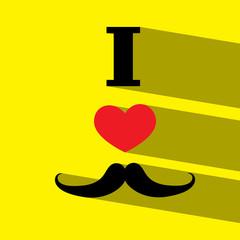 i love dad mustache flat icon  vector illustration eps10