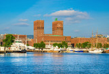 View on Oslo town hall from Oslo fjord, Norway - Fine Art prints