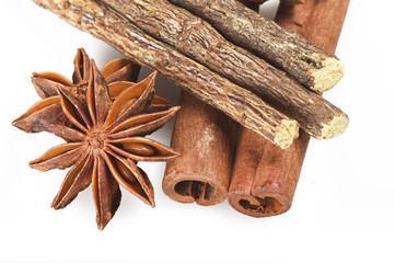 Cinnamon stick Licorice and Star Anise on the white