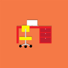 desk and computer flat icon  vector illustration eps10