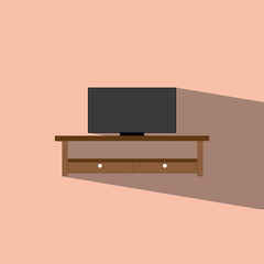 table and television flat icon  vector illustration eps10