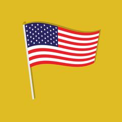 american flag flat icon  vector illustration eps10