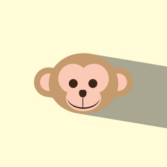 head monkey flat icon  vector illustration eps10