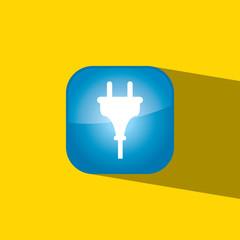 plug button icon flat  vector illustration eps10