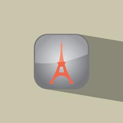 eifel tower button icon flat  vector illustration eps10