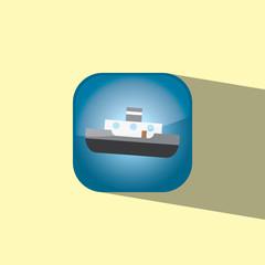 ship button icon flat  vector illustration eps10