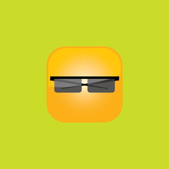 glasses button icon flat  vector illustration eps10