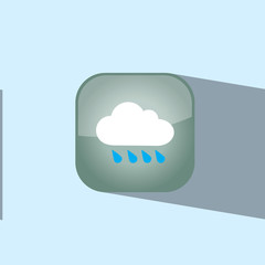 cloud and rain button icon flat  vector illustration eps10