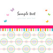 Colorful abstract greeting card circle and butterfly