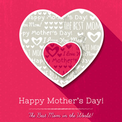 Red background with  two hearts and wishes text for Mother's Day
