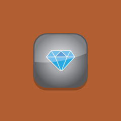 diamond button icon flat  vector illustration eps10