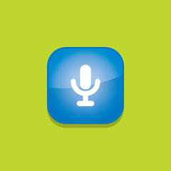 microphone button icon flat  vector illustration eps10
