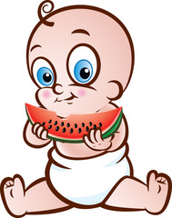 Happy Baby eating Water Melon