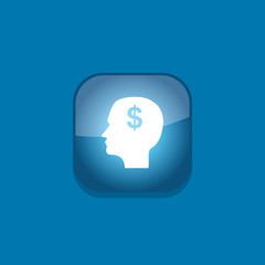 head think money button icon flat  vector illustration eps10
