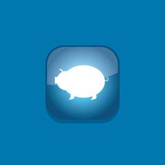 pig bank button icon flat  vector illustration eps10