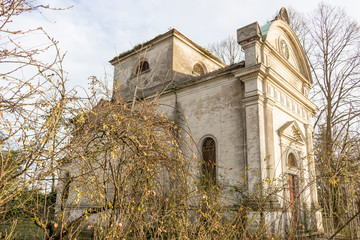 Bushes in front of facade of Italian XVII Century church