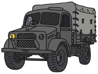 Old military truck, vector illustration, hand drawing