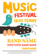 Music festival poster, flyer with a bird singing on a guitar - 81414958