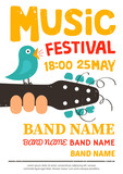 Fototapety Music festival poster, flyer with a bird singing on a guitar