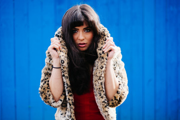 Exotic Model in Red Skirt, Vintage Leopard Print Fur Coat