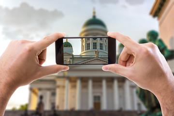 Hand holding Smartphone in Helsinki, Finland