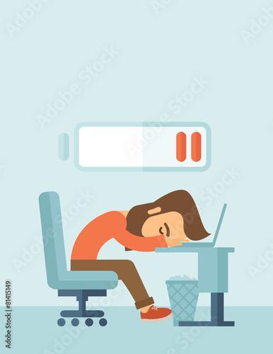 Lying tired employee. - 81415149