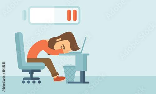 Lying tired employee. - 81415351