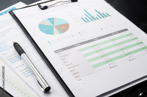 accounting business and financial report with pen . - 81415538