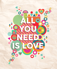 All you need is love quote poster background