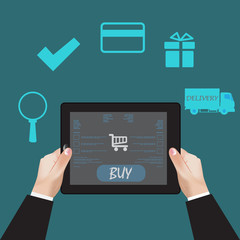 e-commerce concept flat, vector, illustration, infographic