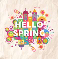 Hello spring quote poster design
