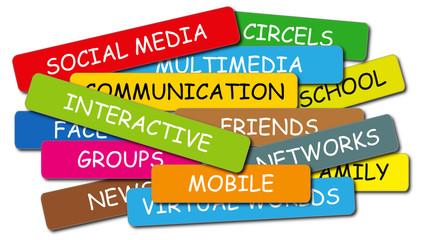 social media labels colorful
