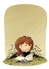 niña leyendo en el campo