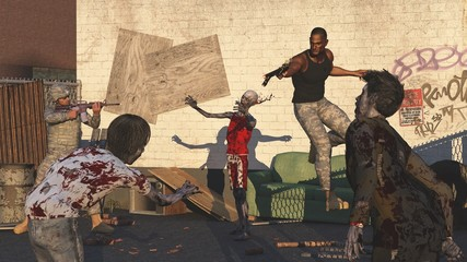 Soldiers under siege by zombies
