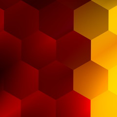 Soft Red Yellow Hexagons. Modern Abstract Background.