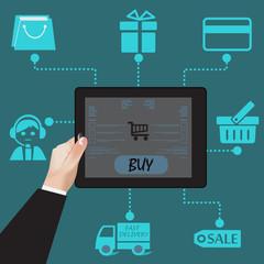 Shopping, e-commerce, concept, tablet, vector, illustration
